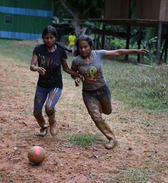 girls play ball